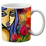 meSleep Girl Printed Ceramic Mug Gray Large Tea or Coffee Mugs for Restaurants, Home, Office Gift Item