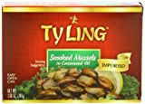 Ty Ling Smoked Mussels, 3.66-Ounce Tins (Pack of 10)