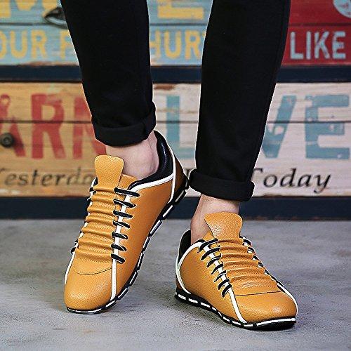 Planas Moda Amarillo Casual ALIKEEY Zapatillas De Hombres Zapatos Cuero Transpirable USCna8qwC