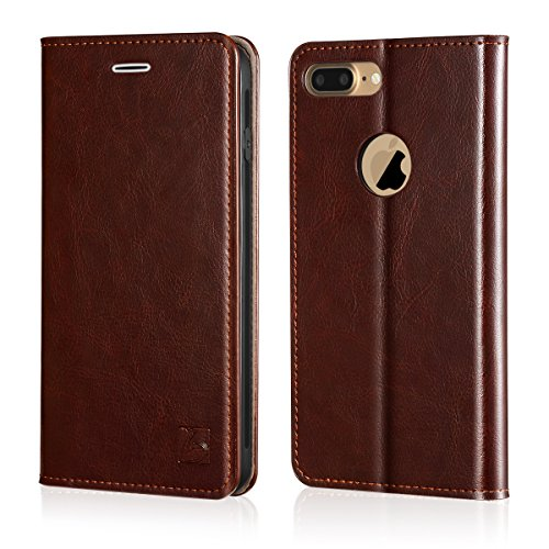 Belemay iPhone 8 Plus Wallet Case, Genuine Cowhide Leather Flip Case [Slim Fit] Folio Cover [Shockproof Soft TPU Inner Case] Card Holder Slots, Kickstand, Cash Pockets Compatible iPhone 8 Plus, Brown