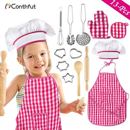 Conthfut Cooking Toys for Girls Toddler Kids' Cooking Kits Baking Chef Set - 13 PCS Kids Kitchen Set Includes Chef Hat, Apron, Cookie Cutters & Baking Utensil for Toddler Girl Toys Age 3+