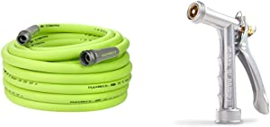 Flexzilla HFZG575YW-E Garden Lead-in Hose 5/8 in. x 75 ft & Gilmour Full Size Zinc Pistol Grip Nozzle with Threaded Front, Silver (857302-1001)