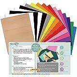 PowerPress Heat Transfer Vinyl Bundle - Iron on Vinyl - 12 x 10 Inches 15 Pack in Assorted Colors Vinyl Sheets, Bouns Teflon Sheet