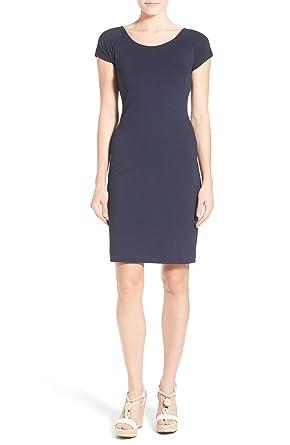 ed2338be MICHAEL Michael Kors Womens Textured Criss-Cross Back Cocktail Dress Navy XL