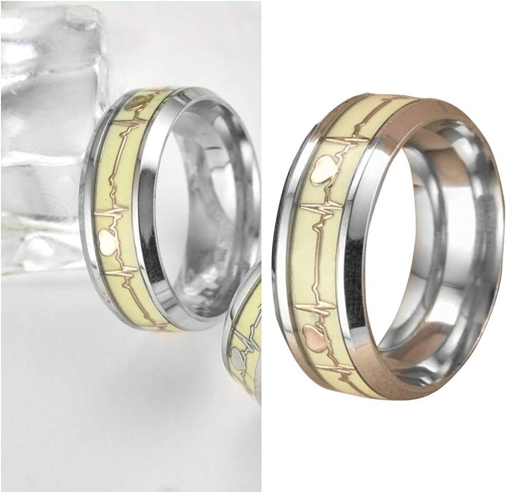 Femmes//Homme lumineux Heartbeat Ring Glow en acier inoxydable bijoux amant cadeau
