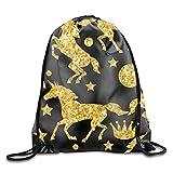 Unicorns And Gold Glitter Unisex Outdoor Rucksack Shoulder Bag Travel Drawstring Backpack Bag