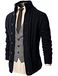 Mens Casual Slim Fit Cardigan Sweater Cable Knitted Button Down Stand Collar