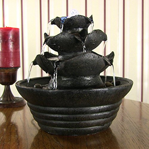 Sunnydaze Three Tier Cascading Tabletop Fountain with LED Lights