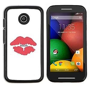 Caucho caso de Shell duro de la cubierta de accesorios de protección BY RAYDREAMMM - Motorola Moto E - Beso Labios rojos minimalista Blancas