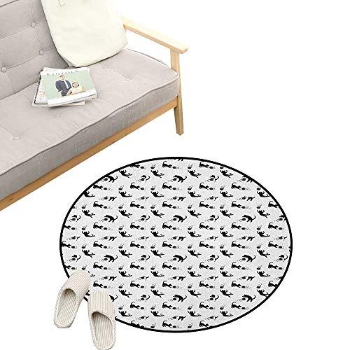 Cat Round Carpet ,Cute Domestic Animals Chasing After Yarn Balls Jumping Playful Kitties Feline Fun, Kids Room Bedroom Bedside Rug 47