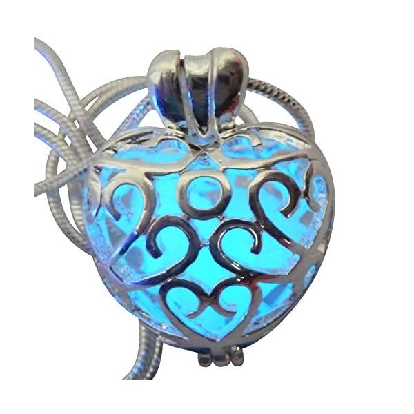 UMBRELLALABORATORY Wishing Heart Fairy Magical Fairy Glow in The Dark Necklace-Blue-SIL 5