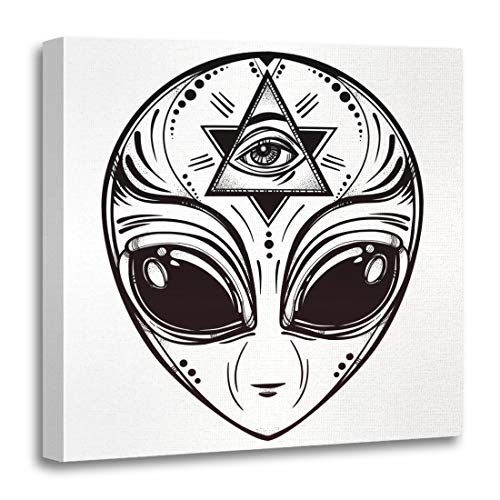 Semtomn Canvas Wall Art Print Alien Face Halloween Conspiracy Theory Sci Fi Religion Spirituality Artwork for Home Decor 16 x 16 Inches -