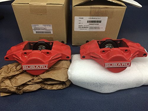 (Genuine SUBARU WRX OEM RED SUBARU 2 PISTON BRAKE CALIPER Rear Set Pair 2006-07)
