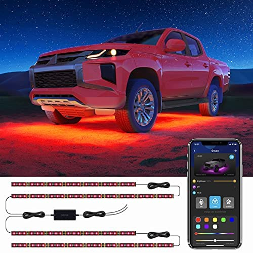 Govee Exterior Car Lights with App Control, 2 Lines Design Under LED Lights for Car with 16 Million Colors, 7 Scene Modes, Sync to Music, RGB Car Light for SUVs, Trucks, DC 12-24V