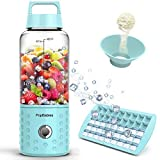 Personal Blender, PopBabies Travel Blender for Single, USB Rechargeable Small Blender for Shakes and Smoothies Stronger and Faster with Ice Tray Funnel and Recipe Carolina Blue (FDA and BPA Free)