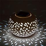 Vacio Solar Table Lamp, Waterproof Wireless Ceramic Patio Lights, Garden Lights, Filigree Lights, for Garden/Yard/Path/Patio (Large)