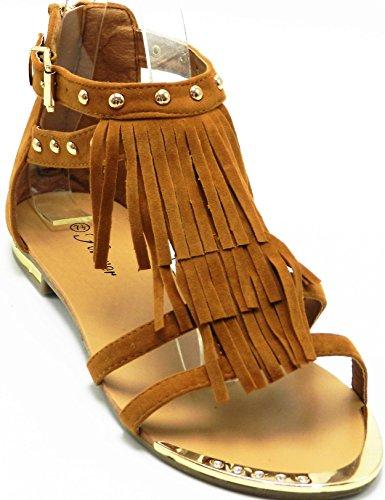 Dev Per Sempre Tyler-26 Donna Nuova Frange Borchiato Con Strass Sandalo Nappe Scarpe Tan 26