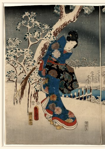 Japanese Print Furyu genji yuki no nagame. TITLE TRANSLATION: A modern version of the Tale of Genji in snow scenes.
