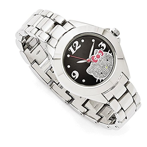 Hello Kitty Black w/Pink Bow Dial Silver-tone Strap Watch