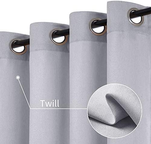 Grey Linen Textured Curtains for Living Room Light Filtering Drapes Grommets Top Window Treatment Set for Bedroom 2 Panels W50 x L95 Inches