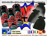 FARBGEL Criminal ID Spray/Self Defence Spray x3 with x3 Handmade BLACK Carry Pouches