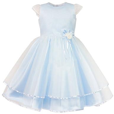 Eu Ware Mädchen Kleid Festlich Hochzeit Blumenmädchen Taufe Tüll Blau Weiß
