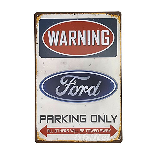 66Retro Ford Parking Only, Vintage Retro Metal Tin Sign, Wall Decorative Sign, 20cm x 30cm (Ford Parking Sign)