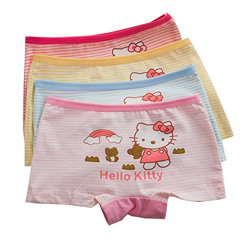 2-8 Years Old Girls Cartoon Character Hellokitty Boyshort Panties Cotton Striped Underwear 4 (Hello Kitty Boyshort Panty)