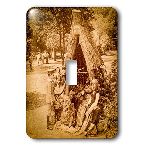 Saratoga Single Light - 3dRose Scenes from the Past - Stereoview - 1875 Stereoview Card Image Spring Water Well Saratoga Springs New York - Light Switch Covers - single toggle switch (lsp_300302_1)