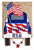 Evergreen Flag Patriotic Pick-Up Truck Burlap Garden Flag, 12.5 x 18 inches