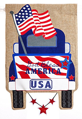 Evergreen Patriotic Pick-Up Truck Burlap Garden Flag, 12.5 x 18 inches