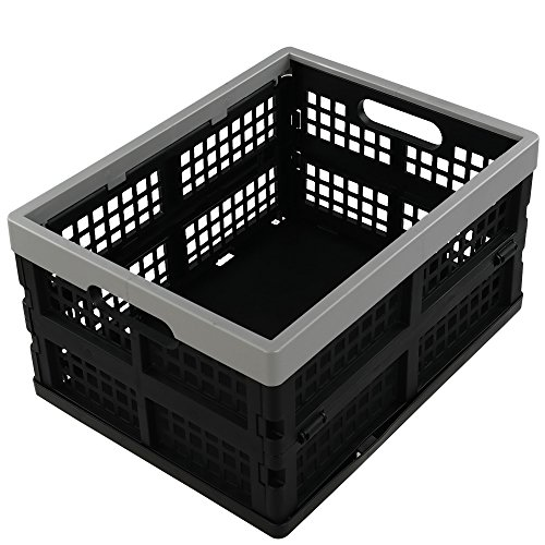 Jekiyo 16-Liter Folding Crates Storage, Collapsible Container Plastic, Set of 3 (Folding Plastic Crates)