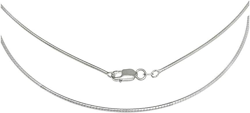 """Serpiente Cadena collar redondo de plata esterlina 16/""""//18/""""//20/""""//24/"""" con broche de langosta"""