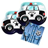 #9: Police Cruiser Shaped Plate & Napkin Sets (35+ Pieces for 16 Guests!), Police Car Party Supplies, Decorations, Birthday