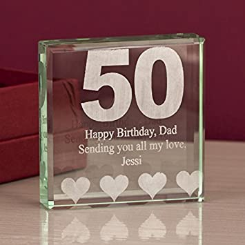 The Gift Experience Engraved 50th Birthday Glass Block Keepsake