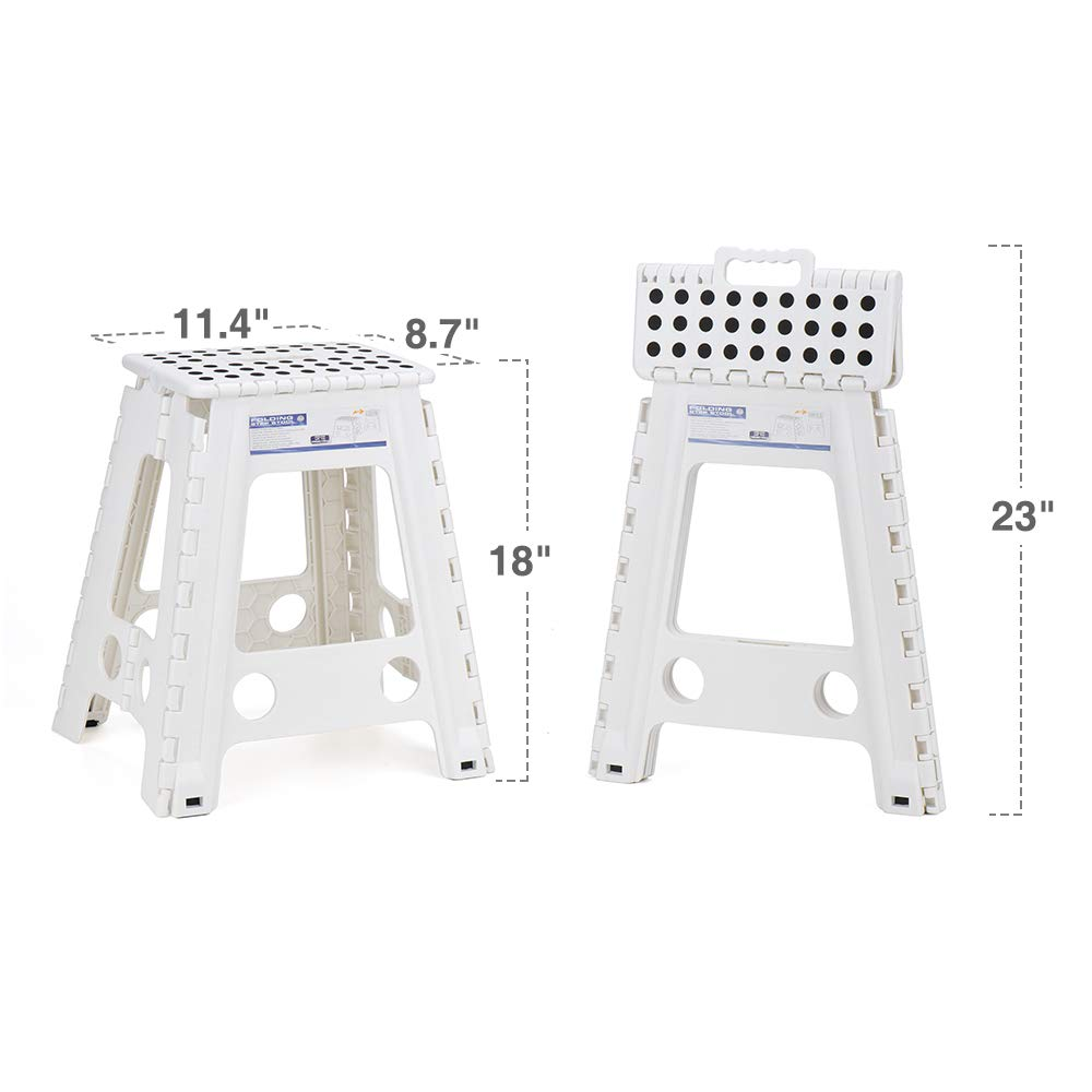Acko White 18 Inches Non Slip Folding Step Stool for Kids and Adults with Handle FBA/_61