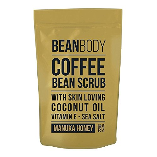 Coffee Scrub with Coconut Oil and Vitamin E - Sea Salt 220g by BEANBODY (MANUKA HONEY)