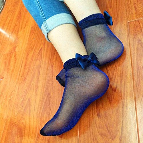 Aubess Bright fiocco maglia seta sottile 1/paia di calzini corti calzini da donna 1*1*1cm Blue