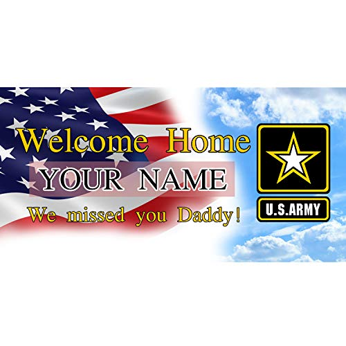 (BANNER BUZZ MAKE IT VISIBLE Welcome Home We Missed You Daddy US Army Banner 11 Oz High Quality Vinyl PVC Flex Banners with Hemmed Edges & Metal Grommets Free (3' X 2'))