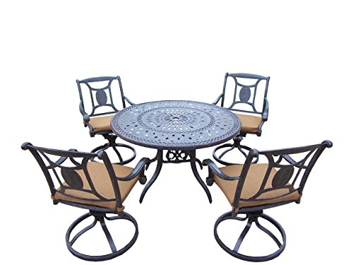Oakland Living Victoria 5-Piece Set with 46-Inch Round Table and 4 Sunbrella Cushioned Swivel Rockers