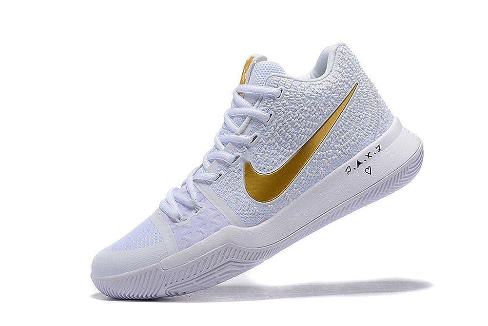 best website 65867 daba2 LYZO Basketball Shoes Men's Kyrie 3 White/Gold Sneakers 10 D ...