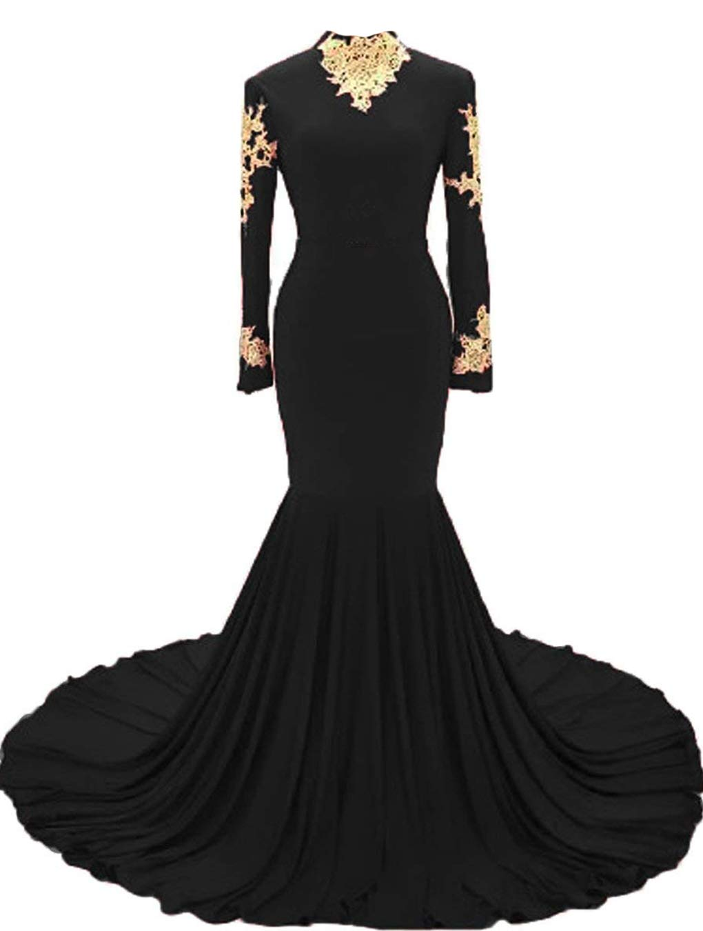 54738ce9e8 ... Lace High Neck Prom Dresses 2018 Mermaid Evening Dress Long Sleeves  UG061 Size 18 Black.   