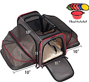 Premium Airline Approved Expandable Pet Carrier by Pet Peppy- TWO SIDE Expansion, Designed for Cats, Dogs, Kittens,Puppies - Extra Spacious Soft Sided Carrier! (Black)