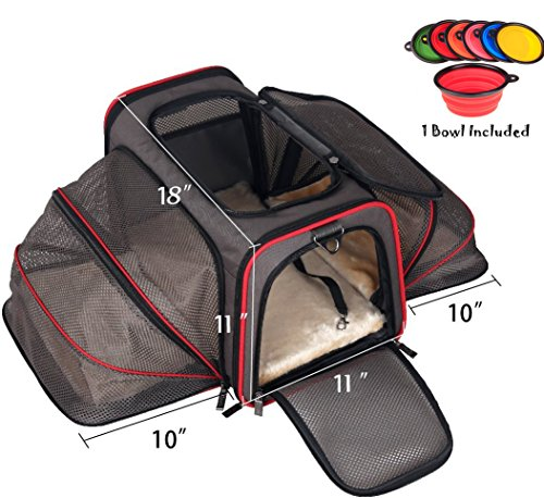 Premium Airline Approved Expandable Pet Carrier By Pet Peppy  Two Side Expansion  Designed For Cats  Dogs  Kittens Puppies   Extra Spacious Soft Sided Carrier   Black