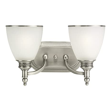 Sea gull lighting 44350 965 laurel leaf two light bath or wall light fixture