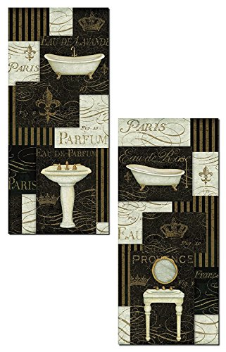Black Fleur De Lis Vanity - Lovely Black and Cream French Sink and Vanity Mirror Panel Set by Daphne Brissonnet; Two 8x18