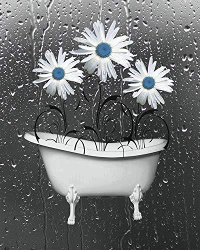 Bathroom Blue Gray Wall Decor, Daisy Flowers, littlepiecreations Original USA Handmade Wall Art Picture 8