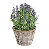 Deutschmade Artificial Plant, Faux Purple Lavender Bush in Wicker Basket, 14 Inch Tall