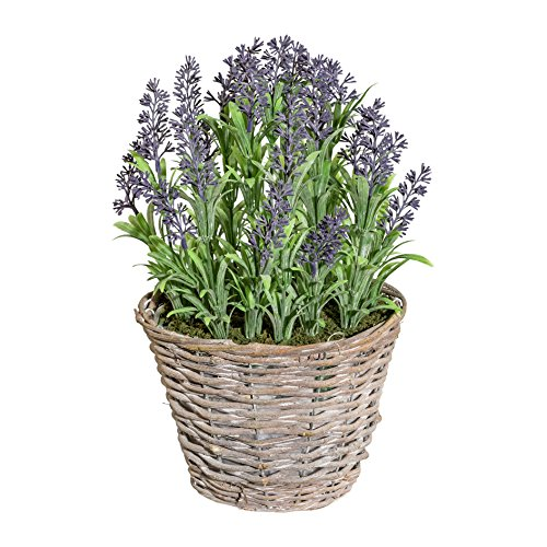 Deutschmade Artificial Plant, Faux Purple Lavender Bush in Wicker Basket, 14 Inch Tall by Deutschmade