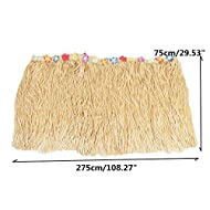 Tropical Plastic Table Skirt Coloful Flower Grass Hawaiian Garden Beach Party Table Skirts Party Events Decoration 275X75cm